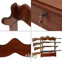 1.00 cu. Ft. 4 gun wall rack storage wood locking rifle display cabinet brown