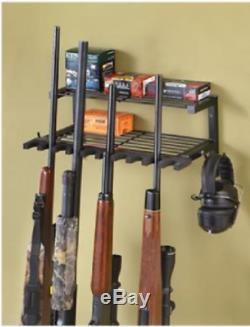 10 Gun Rack Storage Organizer Ammo Shelf Rifle Shotgun Gear Wall Mounted Hooks
