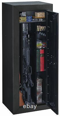 16 Gun Storage Cabinet Steel Rifle Shotgun Firearm Security Safe with Lock Black