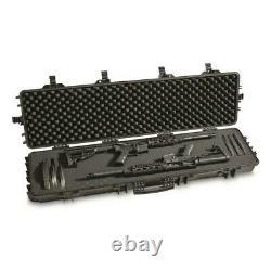 2 LONG GUN RIFLE STORAGE DOUBLE Carry Hard Case Wheel Padded Waterproof Lock Box