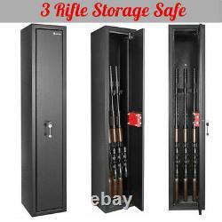 3 Gun Rifle Shotgun Storage Lock Steel Metal Security Safe Box Case Cabinet