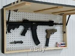 39 Gun Concealment Cabinet, Lockable Hidden Gun Storage, Dark Rustic American