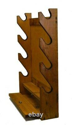 4 Gun Wooden Rack, Solid Native Pine, Storage Compartment 21x5x28 Made In USA