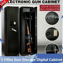 5 Fifles Gun Storage Digital Cabinet Safe Box Steel Security Gun Firearm Vault