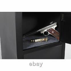 5-Gun Metal Security Cabinet Lockable Rifle Pistol Ammo Storage Organizer Black