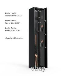 5 Gun Rifle Steel Storage Wall Safe Box Security Cabinet Electronic Dual Lock