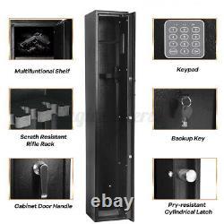 5 Gun Rifle Storage Wall Safe Box Cabinet Double Security Lock Safe Firearm