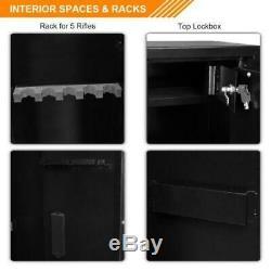 5 Gun Rifle Storage Wall Safe Box Security Cabinet Electronic Dual Lock Steel
