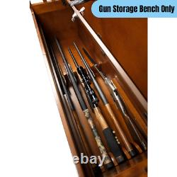 5 Long Guns Storage Bench Firearms Rifle Handgun Wooden Large Compartment Brown