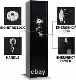5-Rifle Biometric Gun Safe Storage Cabinet Fingerprint With 2 Handgun box &Keys