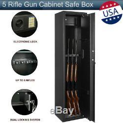 5 Rifle Gun Storage Digital Cabinet Safe Box Steel Security Guns Vault Firearm