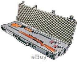 52 Double Scoped Rifle Hard Case With Wheels & Foam Locking Gun Storage Hunting