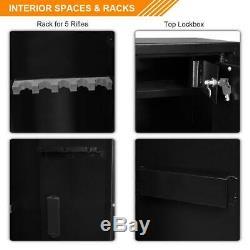 57 Gun Storage Locker Cabinet 5 Rifles Heavy Duty Steel Shotgun Pistol Safe Box