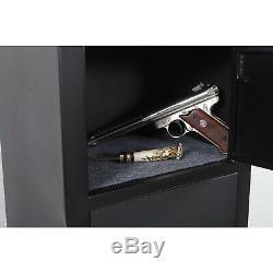 American Furniture 5 Rifle Metal Home Gun Safe Storage Cabinet, Black (Damaged)