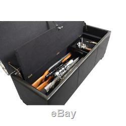 Bench Gun Safe up to 5 Rifles Concealment Trunk Chest Lockable Storage Lock