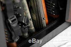 Black 10 Gun Security Cabinet Safe Storage Rifle Shotgun Steel Firearm Ammo Lock
