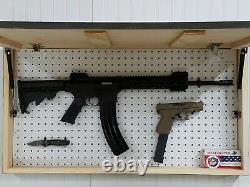 Black And Burnt American Flag Gun Concealment Cabinet Ar Ak Hidden Storage Safe