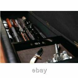 Classic Gun Safe Bench Cabinet Locking 5-Rifles Storage Compartment Dark Brown