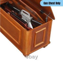 Classic Style Gun Chest 5 Shotgun/Rifle Storage Locking Hidden Compartment Brown