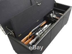 Concealed Wood Gun Firearm Storage Bench Cabinet Ottoman Seat Hidden Locking New
