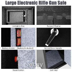Costway Large Rifle Safe Quick Access 5-Gun Storage Cabinet with Pistol Lock Box