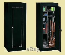 FIREARM STORAGE CABINET 14 Gun Security Rifle Shotgun Rack Steel Black Safe New