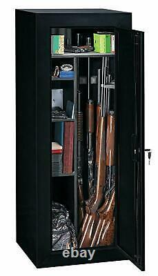 FIREARM STORAGE CABINET 18 Gun Security Rifle Shotgun Rack Steel Black Safe New