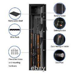 Fingerprint Metal Gun Safe Cabinet 4-5 Rifle+ 1Handgun Storage Security Cabinet