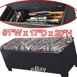 Firearm Storage Bench Cabinet Gun Rifle Safe Rack Seat Ottoman Concealed Hidden