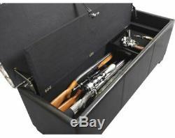 Firearm Storage Bench Cabinet Gun Rifle Safe Rack Seat Ottoman Hidden Concealed
