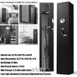Firearm Storage Cabinet Gun Security Rifle Shotgun Rack Steel Safe Biometric