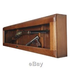 GUN DISPLAY CABINET Lockable WOOD Horizontal AMERICAN FURNITURE safe storage NEW