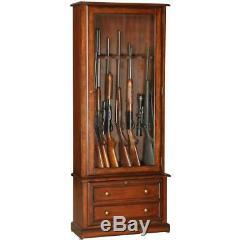 Gun Cabinet And Racks Storage Wood Tempered Glass Key Lock Barrel Rests Brown