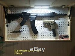 Gun Concealment Cabinet, Secret Hidden Storage Furniture Dark Rustic Texas Flag