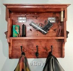 Gun Firearm Concealment Coat Rack with Hidden Storage Handcrafted Wood Fast Access
