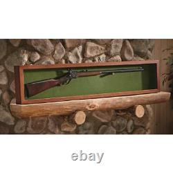 Gun Rifle or Sword Display Case with Engraving Glass Storage Solid Wood Wall Mount