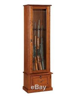 Gun Safe Cabinet 8 Rifles Wood Storage Locker Shotgun Firearm Lock Shelf Rack