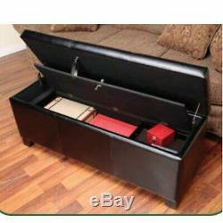 Gun Safe Rifle Weapon Lock Box Firearm Hidden Storage Bench Ottoman Seat Steel