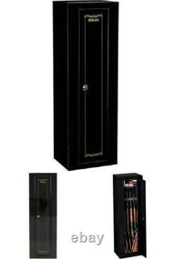 Gun Security Safe Cabinet Shotgun Rifle Storage Case with Key Coded 52 Tall Black