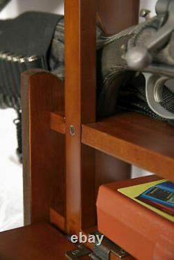 Gun Wall Rack Wood Cabinet Display Rifle Gun Locking Bar Ammo Storage Box Shoot