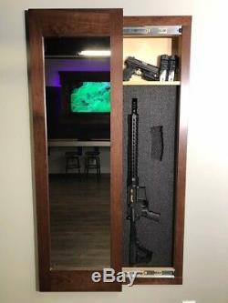 Hidden storage In-wall gun safe concealment cabinet rifle pistol espresso