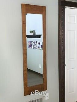 Hidden storage mirror, In-wall gun safe concealment cabinet American Walnut
