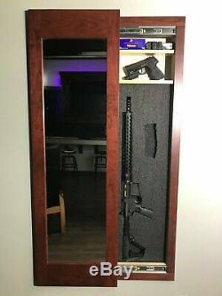 Hidden storage mirror In-wall gun safe concealment cabinet red mahogany