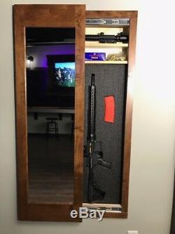 Hidden storage mirror In-wall gun safe concealment cabinet rifle American Walnut