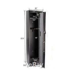 Large 5 Rifle Digital Gun Cash Safe Electronic Lock Storage Steel Cabinet Black