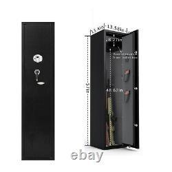 Large 5 Rifle Gun Wall Mount Stand Safe Storage Biometric Lock Steel Cabinet