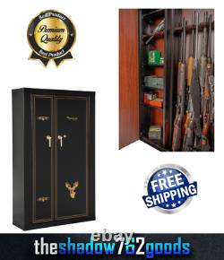 Large Metal Gun Cabinet Locker Rifle Shotgun Lockable Durable Storage Organizer