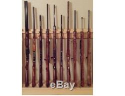 Light Rustic Traditional Wooden Vertical 12 Place Gun Rack Locking Rifle Storage