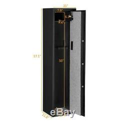 New 5 Gun Rifle Storage Fingerprint Keyboard Safe Box Depository Steel Metal