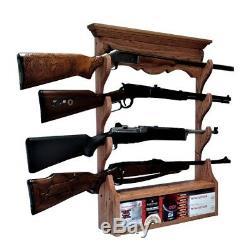 Oak Wooden Wall Gun Rack 4 Place Rifle Shotgun Display with Ammo Storage